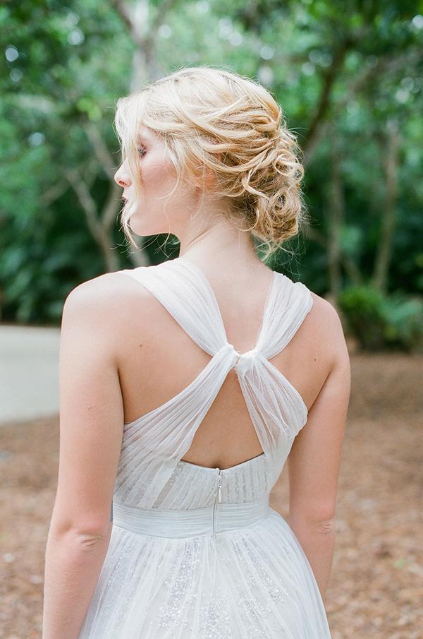 Cross back of bride's wedding dress