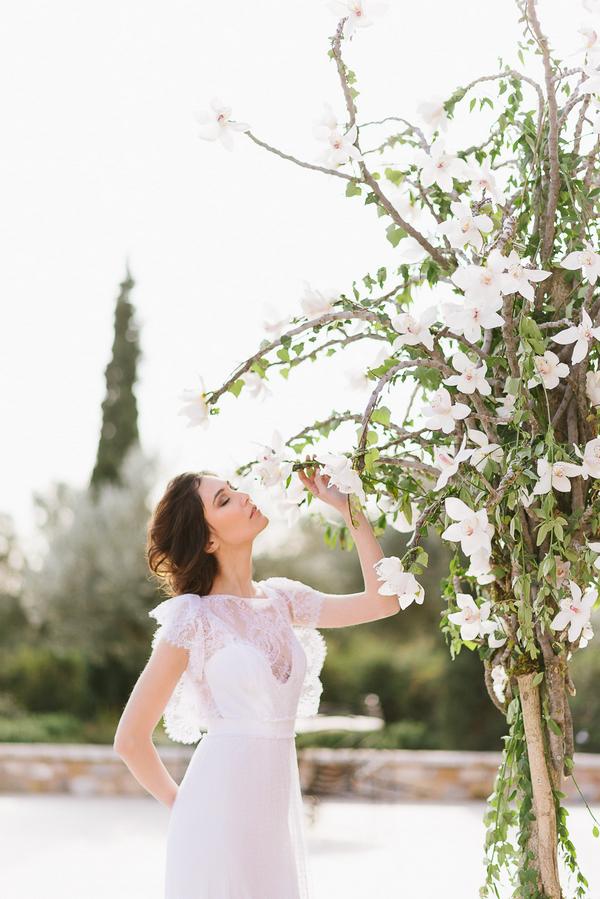 Bride smelling flower on tree