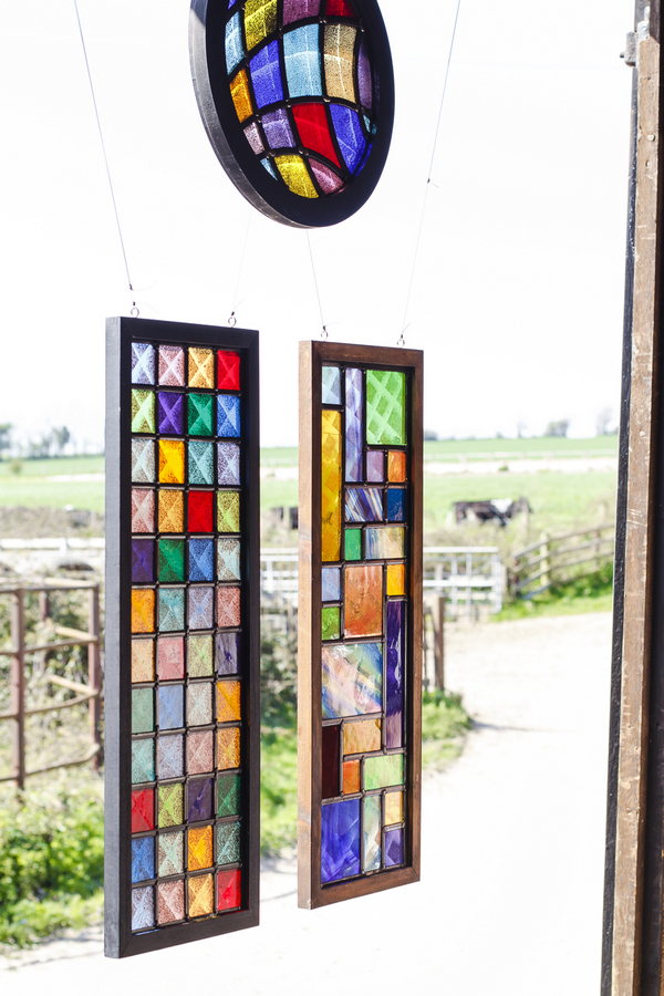 Coloured glass windows hanging as decoration