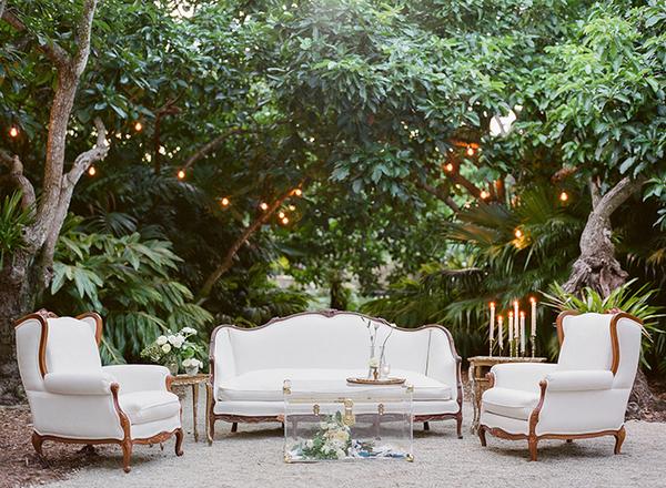 Furniture under trees