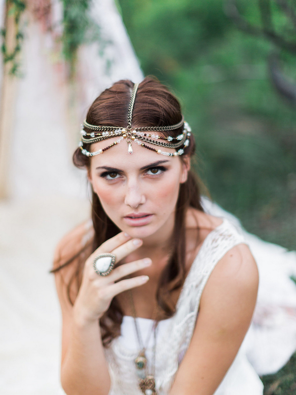 Bohemian bridesmaid with headpiece