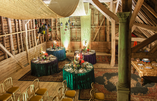 Wedding tables with coloured tablecloths