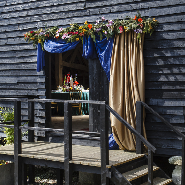 Drapes over entrance to wedding