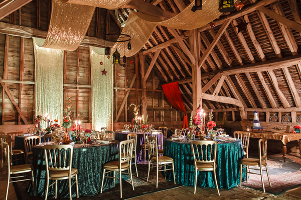Wedding tables in Longford Barn