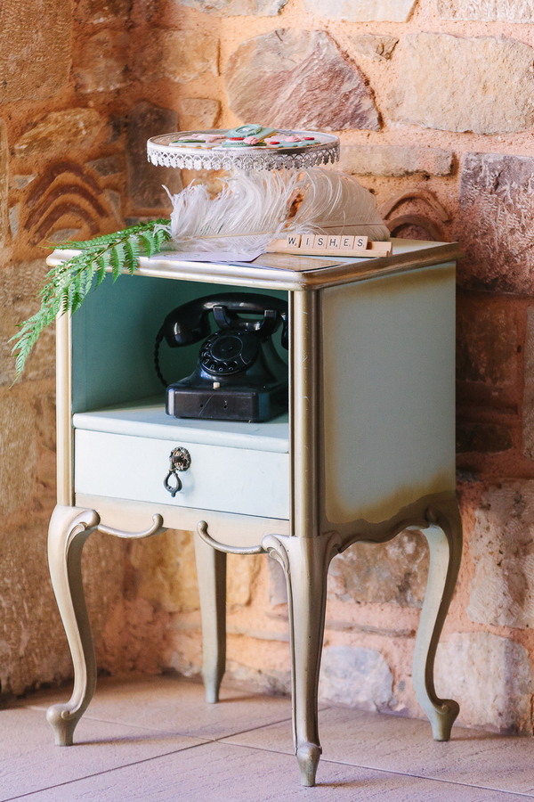 Telephone table with old telephone