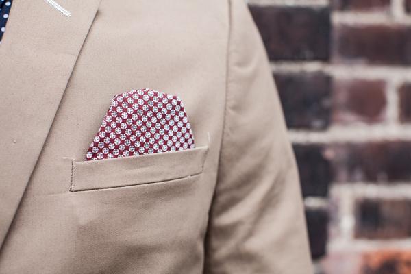 Check handkerchief in top pocket