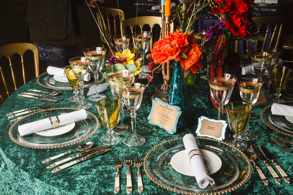 Colourful wedding table styling