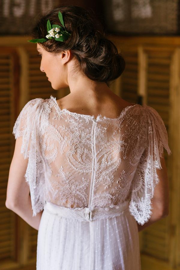 Detail on back of bride's dress
