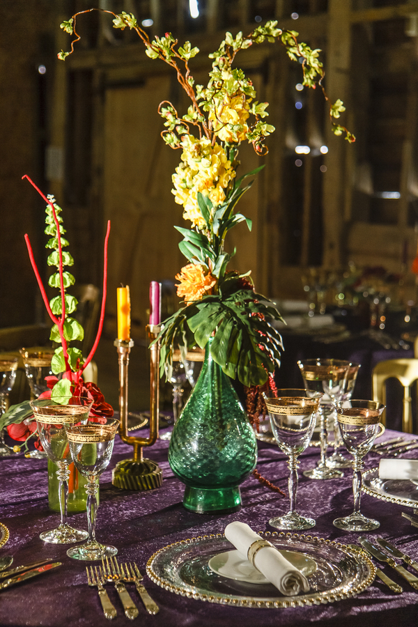 Large coloured green glass vase wedding table centrepiece