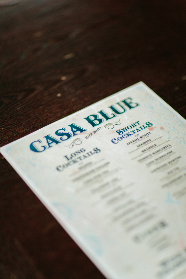 Casa Blue cocktail menu