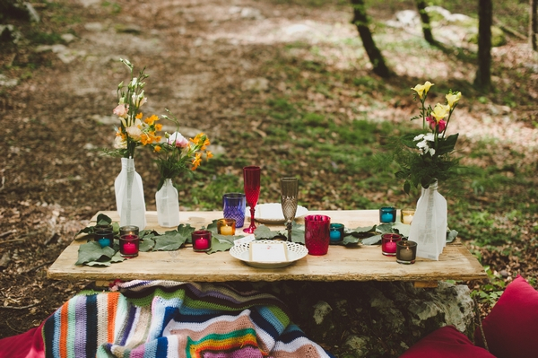 Wedding table set-up in woods