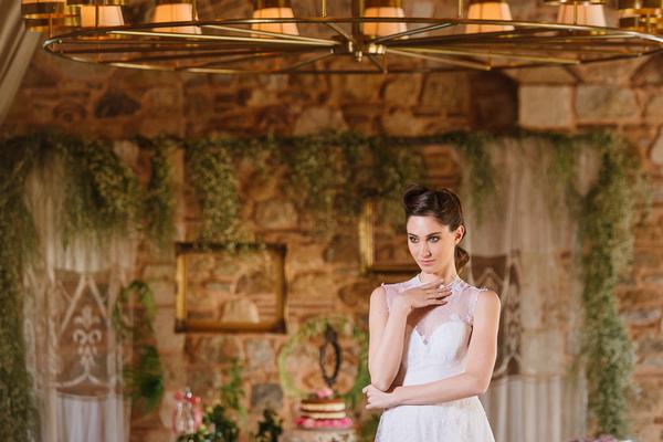 Bride with hand under chin