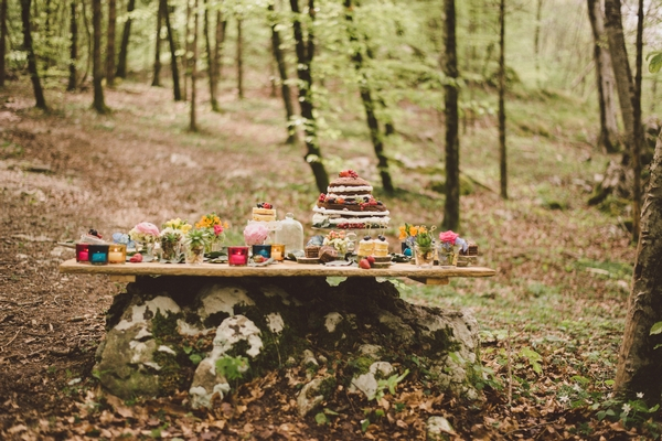 Wedding cake table in woods