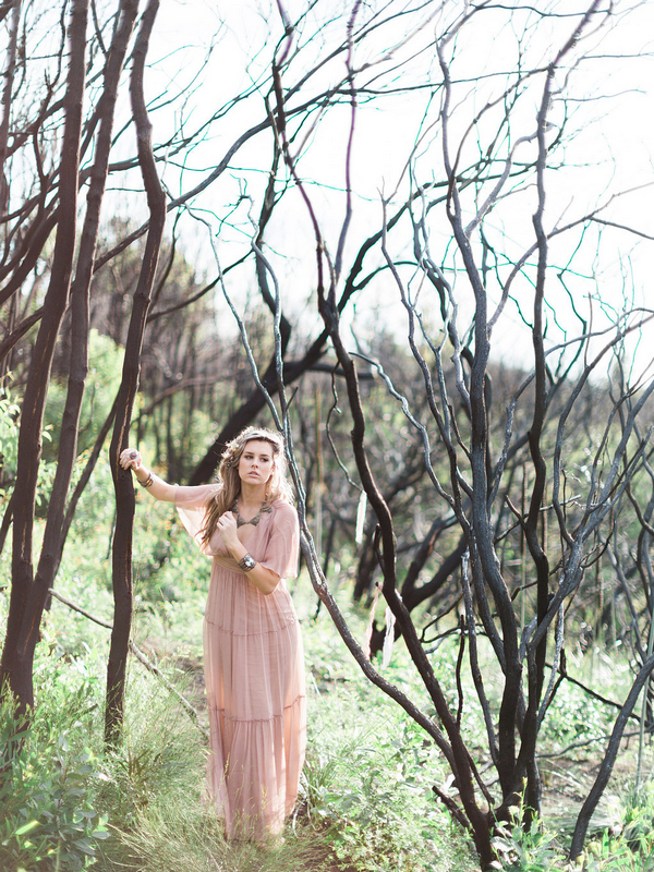 Bohemian bridesmaid in woodland