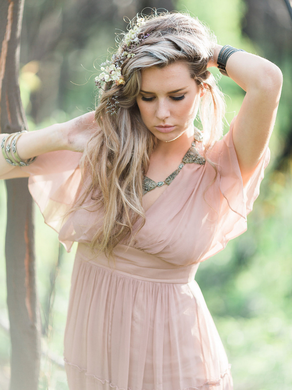 Bohemian bridesmaid with pink dress
