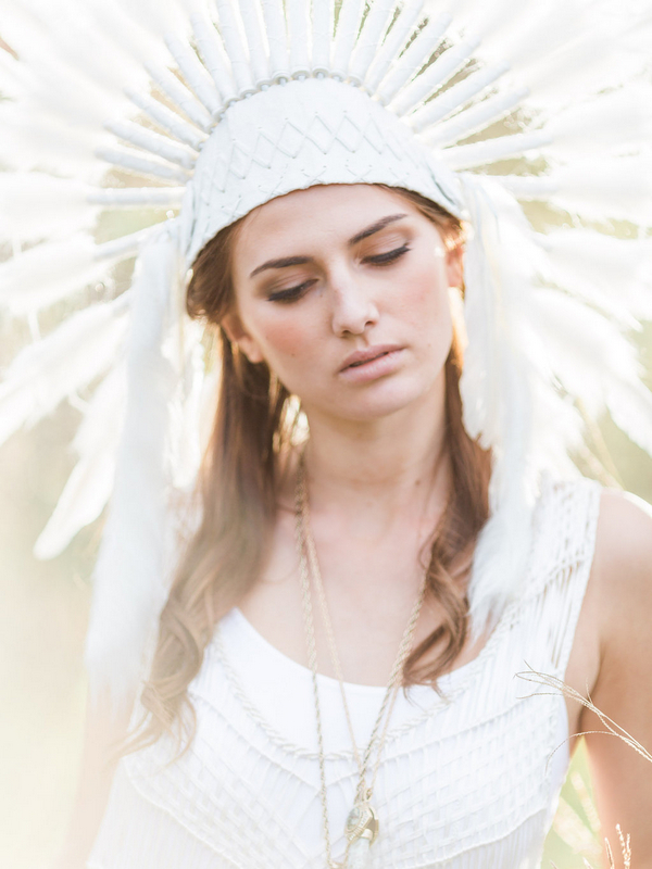 Bohemian bridesmaid with feather headdress