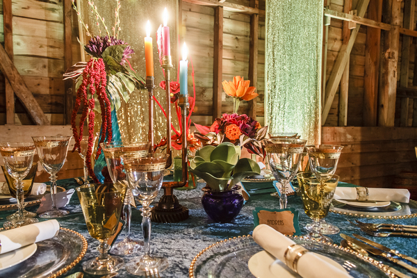 Wedding table with colourful styling