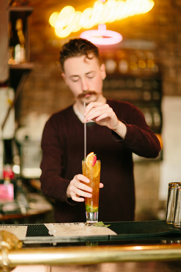Man making cocktail