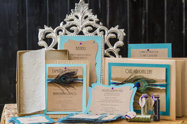 Blue and peacock styled wedding stationery
