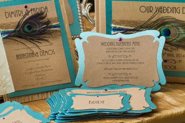 Blue backed wedding stationery