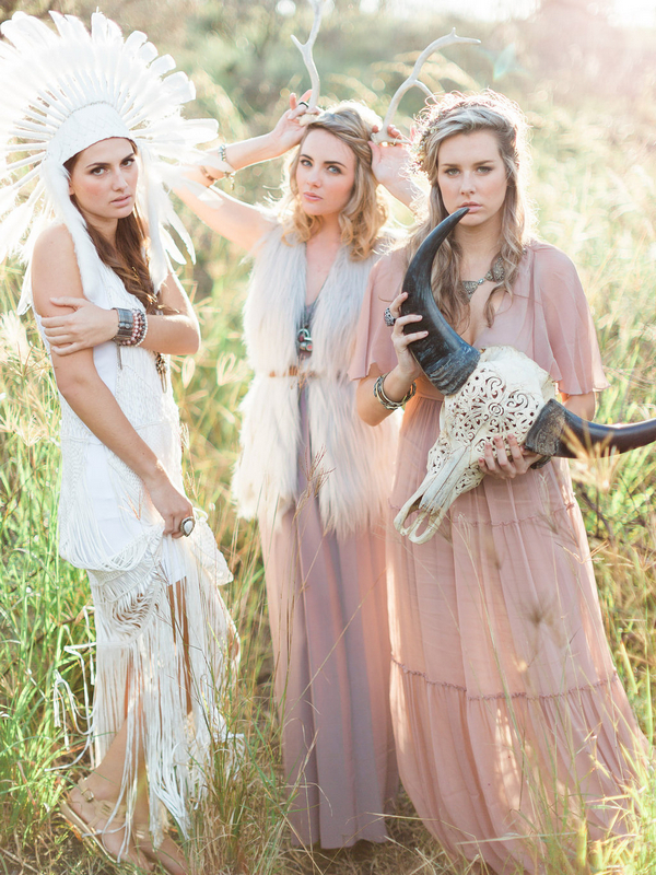 Three Bohemian bridesmaids