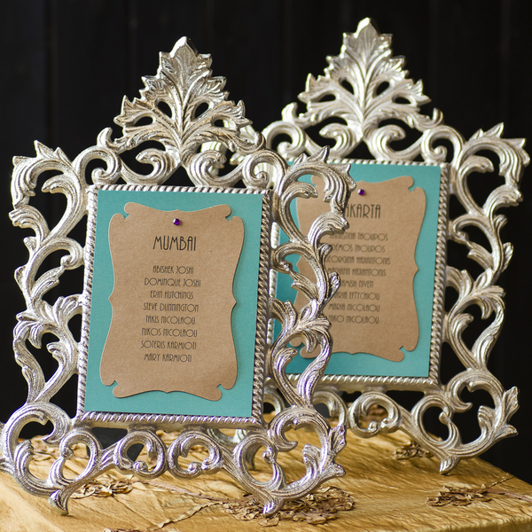 Wedding seating plan in frames