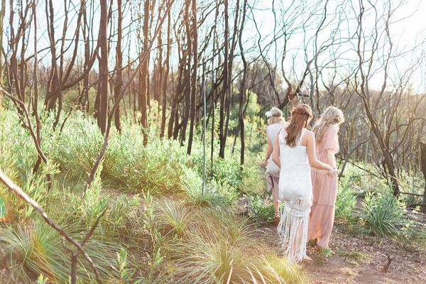 Bohemian bridesmaids walking