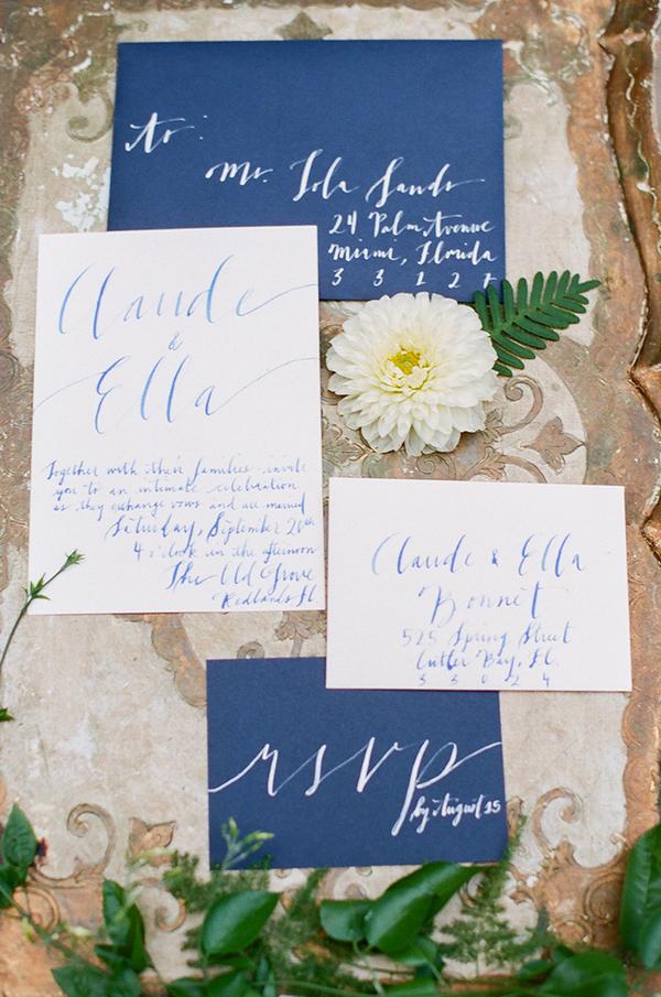 Blue handwritten wedding stationery