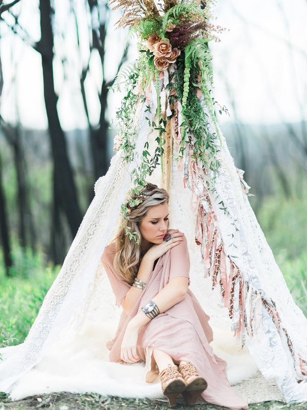 Bohemian bridesmaid in tipi