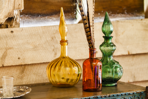Coloured glass vases