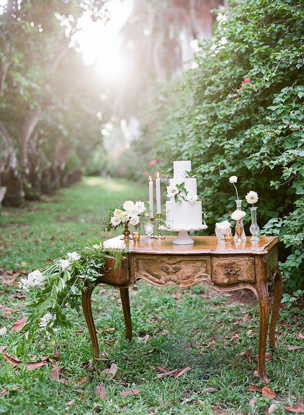 Dresser with wedding cake