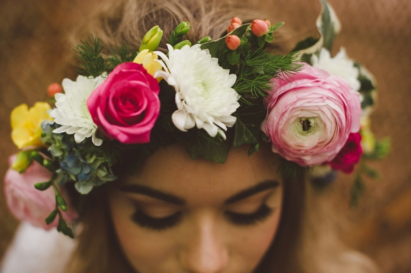 Boho bride's flower crown