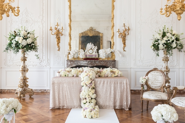 Wedding ceremony display in White Room at Waddesdon Manor