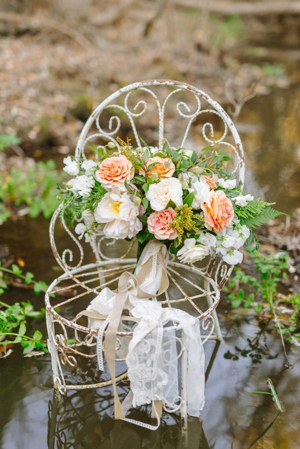 Flowers on chair in creek