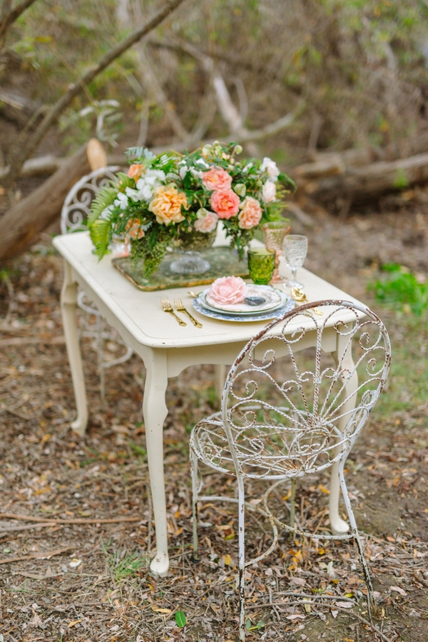 Small wedding table in woods