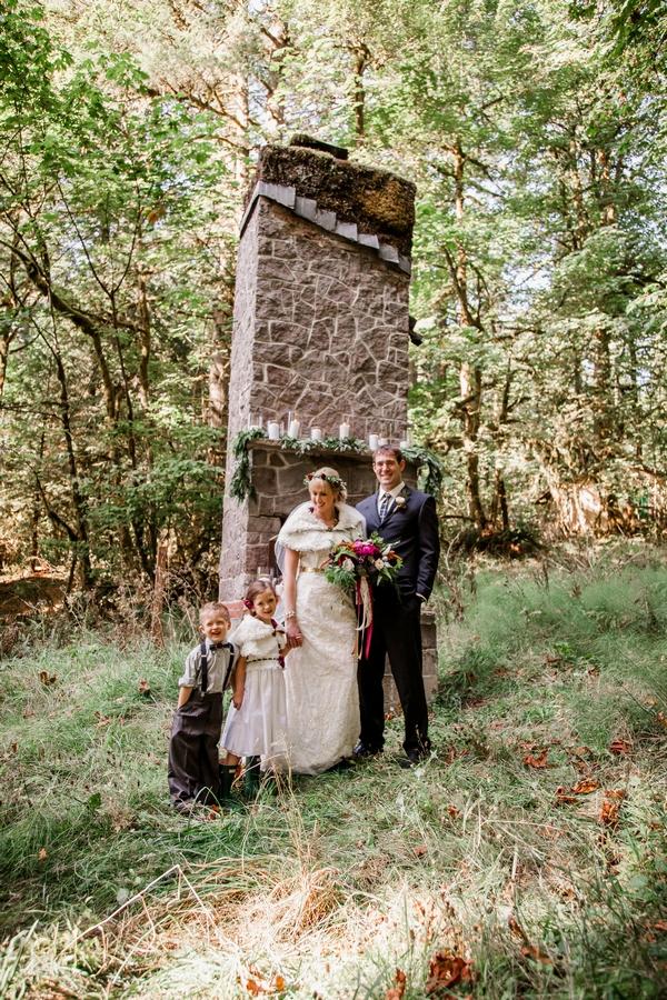 Bride, groom, flower girl and pageboy
