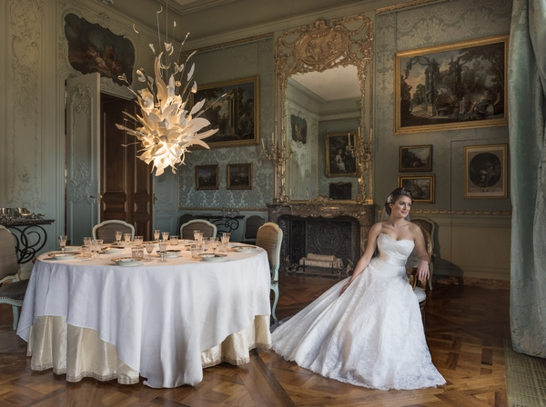 Bride sitting in Blue Room at Waddesdon Manor