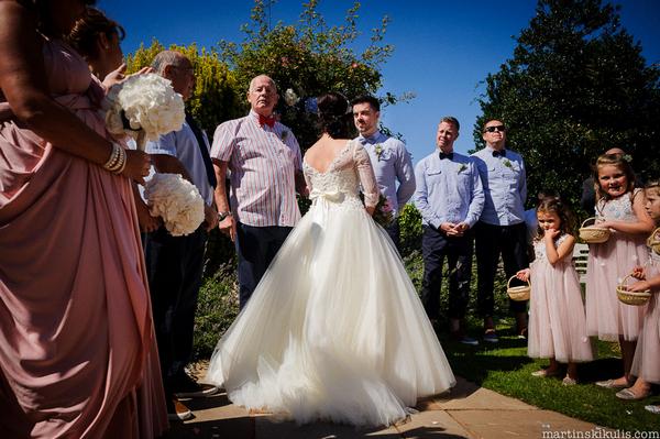 Outdoor wedding ceremony at Huntstile Organic Farm