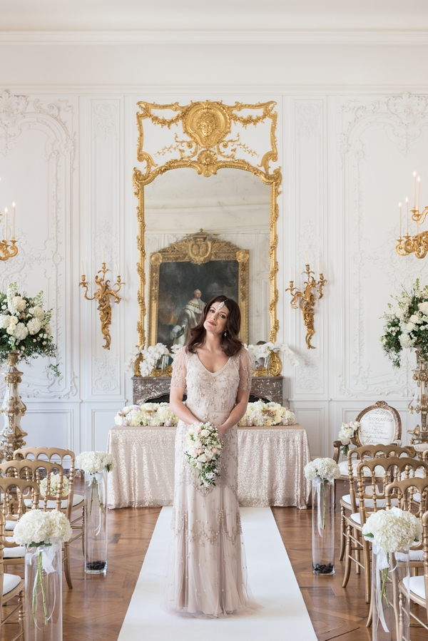 Bride in White Room at Waddesdon Manor
