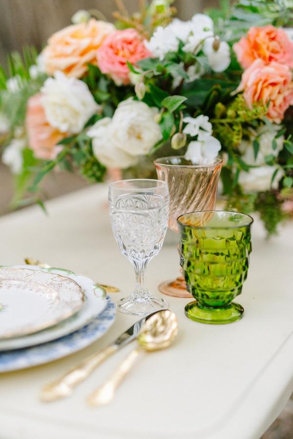 Green glass on wedding table