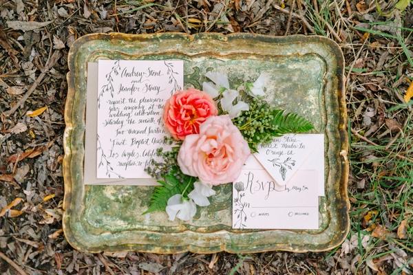Elegant wedding stationery in frame