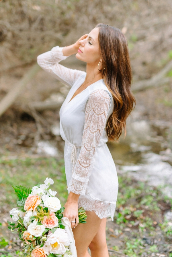 Bride with lace sleeved top