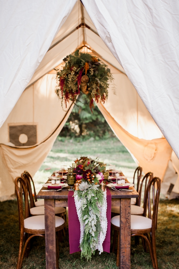 Wedding table under tent