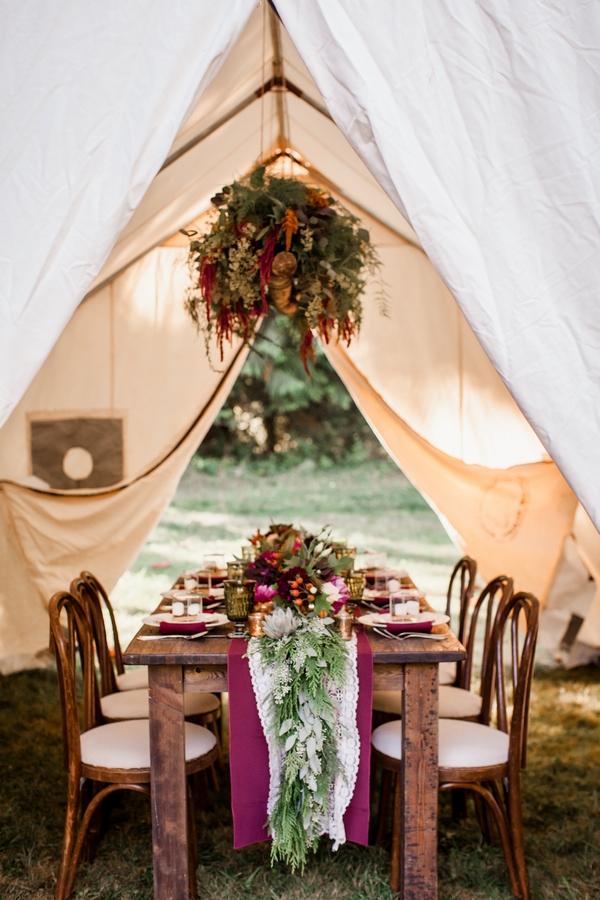 Wedding table under tent