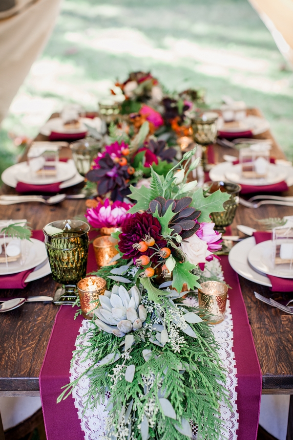 Rustic floral table runner