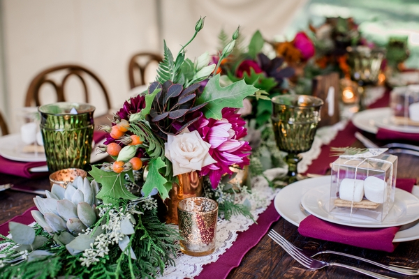 Rustic floral wedding table centrepiece