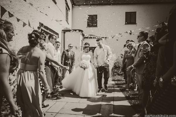Wedding confetti shot at Huntstile Organic Farm