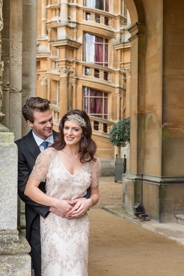 Bride and groom outside Waddesdon Manor