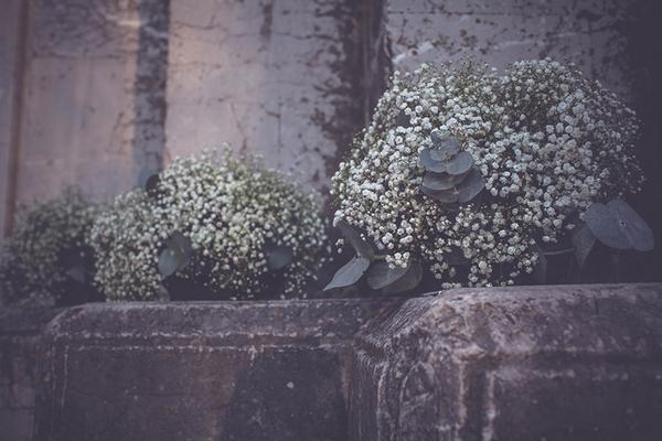 Flowers on church