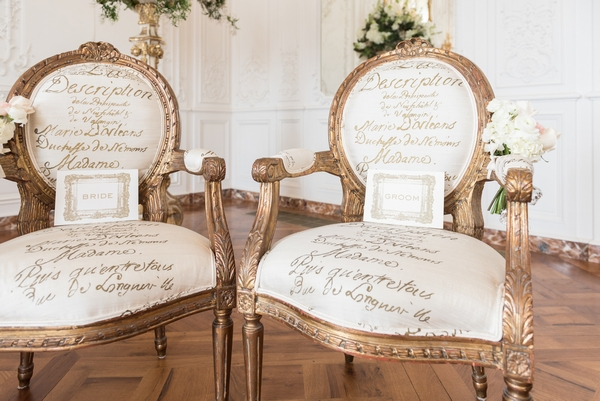 Elegant chairs for bride and groom